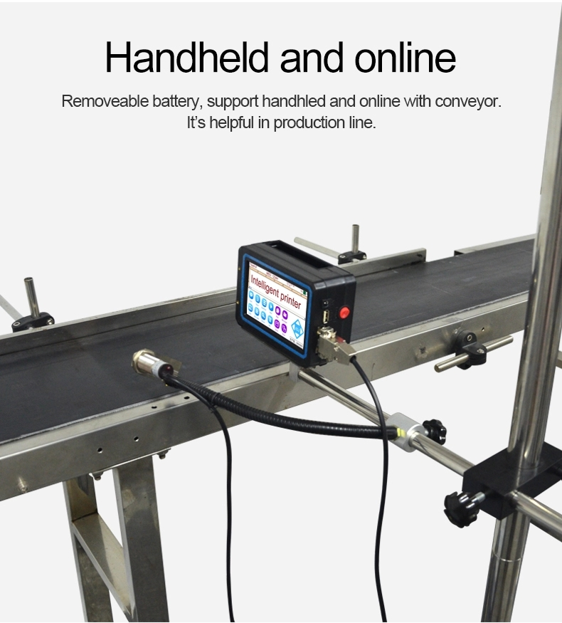 Portable hand-held laser code printer/ batch expiry date printing machine with conveyor and stand for sale