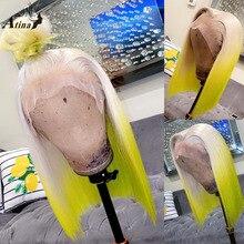Atina ombre amarelo em linha reta glueless perucas para preto 613 preplucked hd transparente remy frente do laço peruca de cabelo humano fechamento