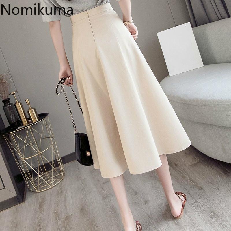 Nomikuma New Arrival A Line Skirt High Waist Back Zipper Solid Color Elegant OL Skirts Women Korean Fashion Faldas Mujer 3a298