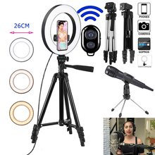 Microphone Photo Ringlight Led Selfie Ring Light Phone Bluetooth Remote Lamp Photography Lighting Tripod Holder Youtube Video