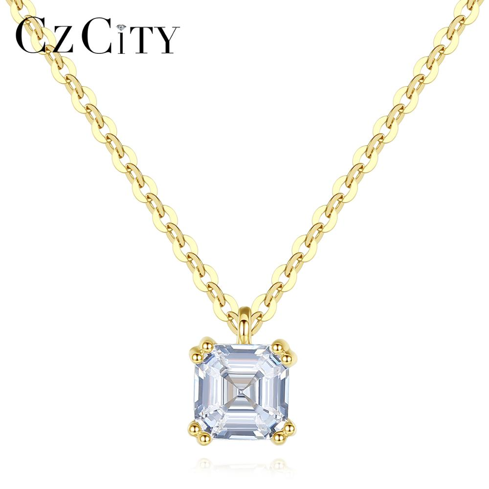 CZCITY Solid Pure 14k Gold Square Pendant Necklaces For Women With AAA Cubic Zircon Yellow Gold Fine Jewelry Au 585 Colar N14067