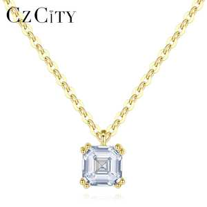CZCITY Necklaces Pendant Fine-Jewelry 14k Gold Solid Pure Yellow Women Zircon for