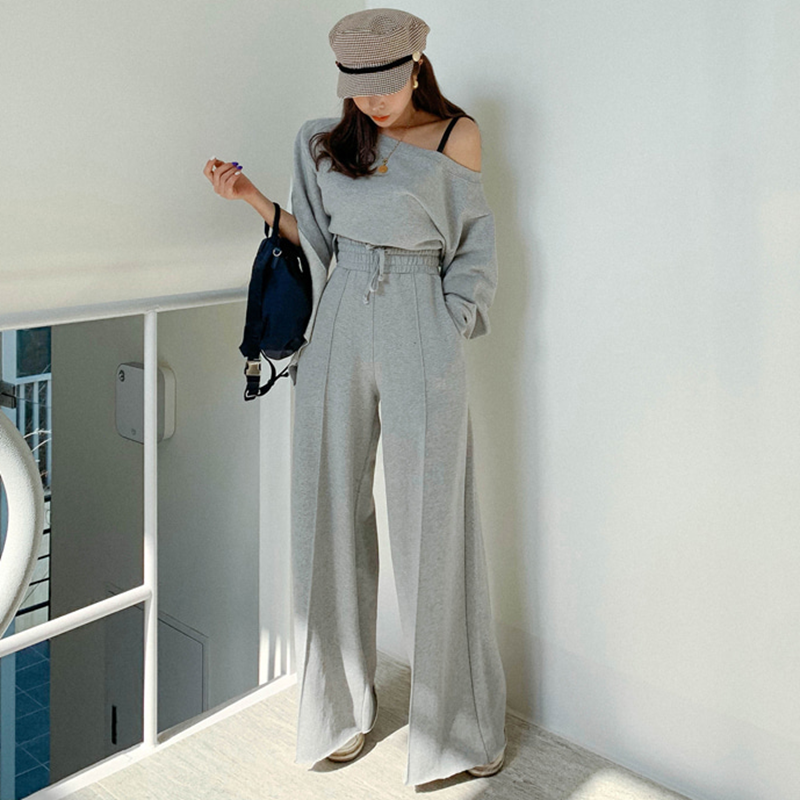 Spring  Solid Color Two Pieces Set Long Sleeve Asymmetric Sweatshirt + Wide Leg Pant Suit With Pocket Tracksuit Women
