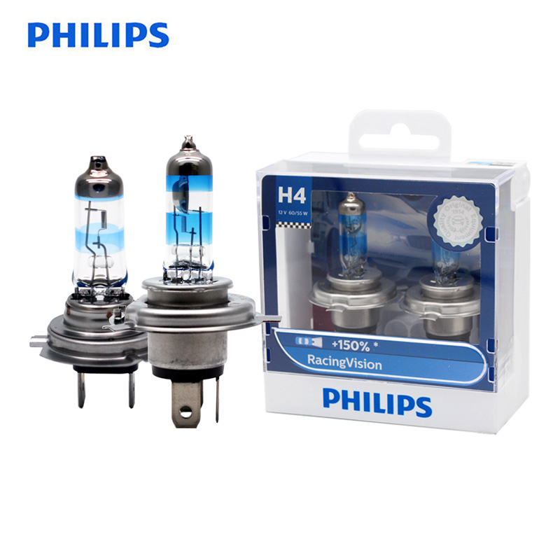Philips H4 <font><b>H7</b></font> 9003 Racing Vision +<font><b>150</b></font>% More Brightness Auto Headlight Hi/lo Beam Halogen Lamp Rally Performance ECE, Pair image