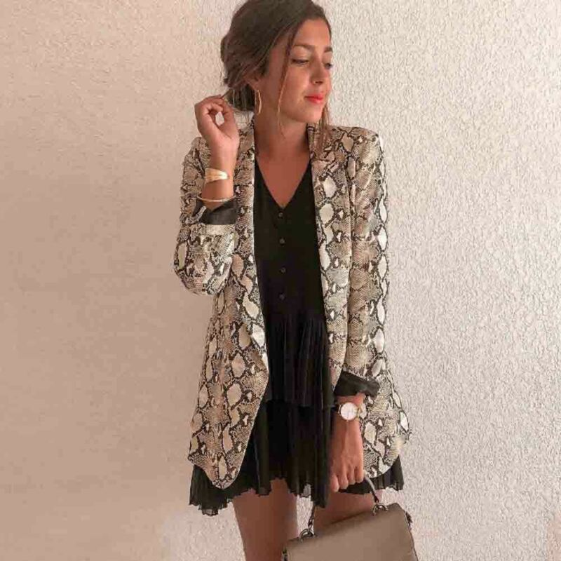Women Vintage Leopard Print Blazer Notched Collar Long Sleeve Coat Female Outerwear Fashion Casaco Feminine Tops