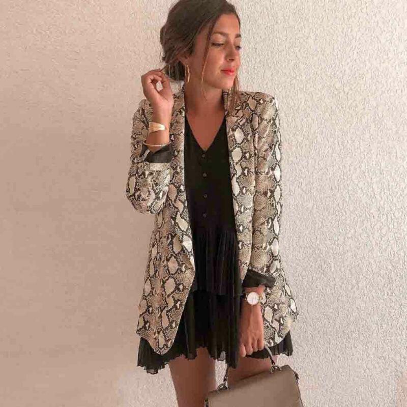 Women Vintage Leopard Print Blazer Notched Collar Long Sleeve Coat Female Outerwear Fashion Casaco Feminine Tops