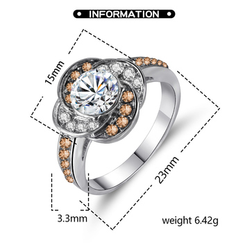 Ladies Ring Fashion Charm Inlaid Zircon Flower Shape Silver Color Ring Banquet Engagement Ring To Give Girlfriend A Gift 2