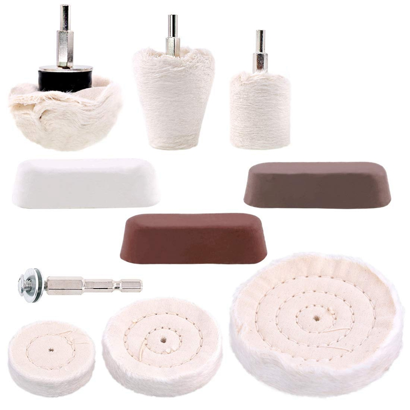 10 Pcs Buffing Pad Polishing Wheel Kits With 3Pcs Rouge Compound With 1/4 Inch Handle, For Manifold, Aluminum, Stainless Steel,