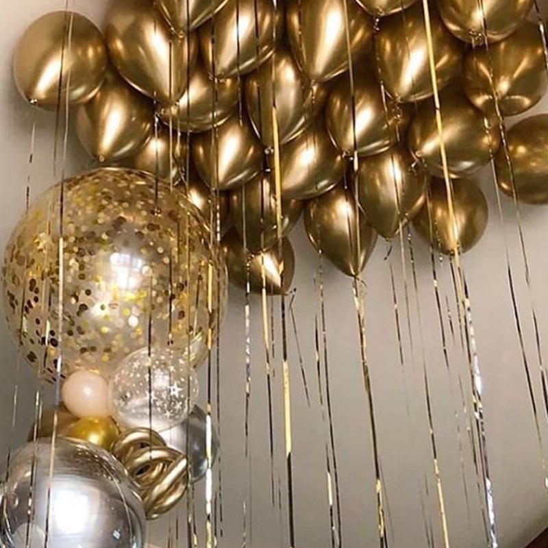 10 шт./лот, металлические, золотые, серебристые, синие, розовые, зеленые, фиолетовые, латексные, металлические, с днем рождения, воздушные, гели...