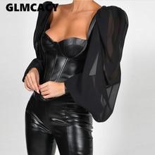 Women Leather Semi Sheer Patchwork Low Cut Blouse Puff Long Sleeve Elegant
