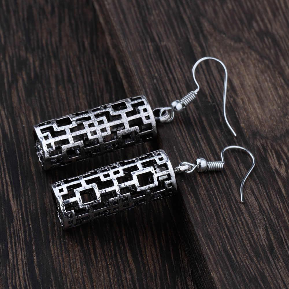 Mityczny wiek etniczny tybetański kolor srebrny Hollow 3D filar geometryczny spadek dynda Vintage kolczyki dla kobiet dziewczyn nowa biżuteria