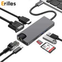 8 en 1 USB tipo C 3,1 a 2USB SD Micro SD LAN VGA HDMI adaptador USBC Centro ampliar PD base Dock de Carga 1000 Mbps Rj45 OTG para Macbook