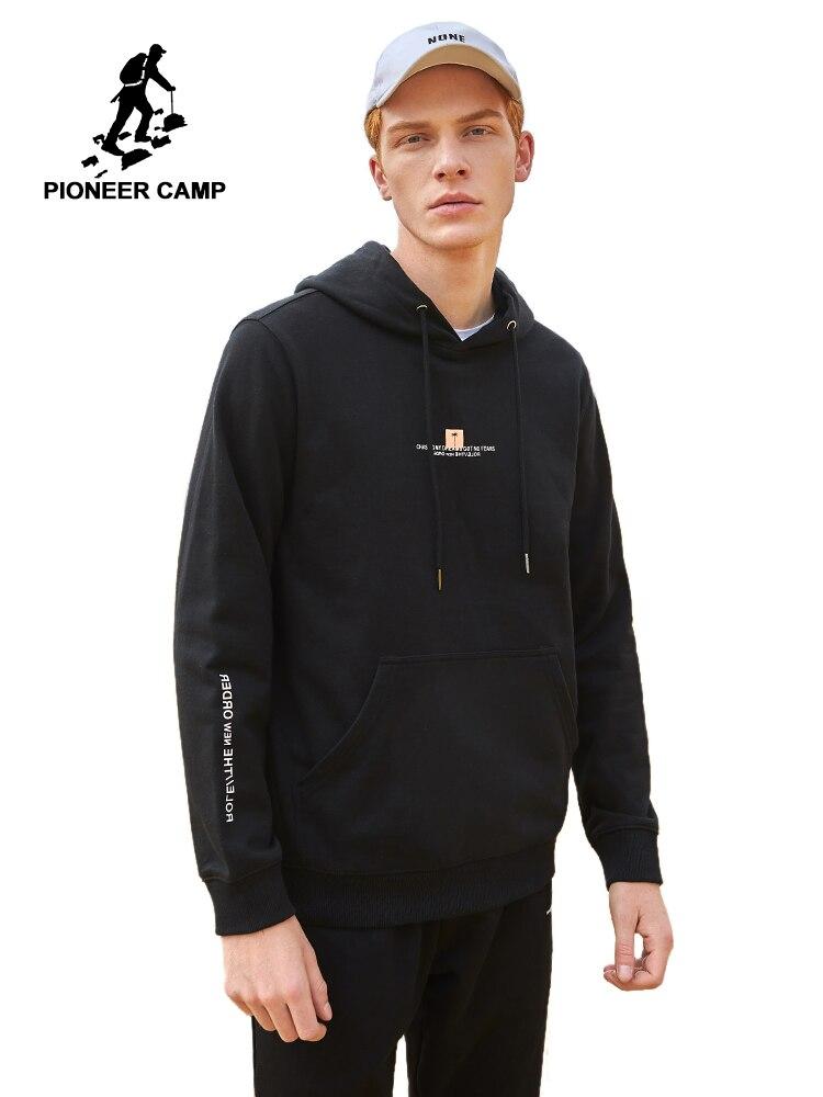 Pioneer Camp Autumn Black Hoodies Men Streetwear Causal Cotton Fashion Sweatshirt 2020 Male Pullovers Tops AWY901594