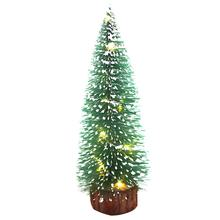 Mini Light Pine Needles Stained White Cedar Flocking Small Christmas Tree Decorations Desktop Ornaments(China)