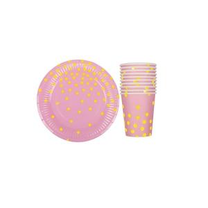 Image 4 - 20ピース/セットカラフルなストライプ紙コップ & 皿結婚式誕生日装飾ベビーシャワーフェスティバル子供食器パーティー用品