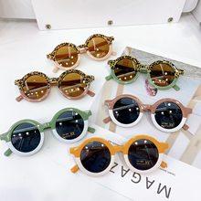 Nova moda redonda bebê crianças óculos de sol meninos meninas do vintage óculos proteção uv clássico óculos de sol