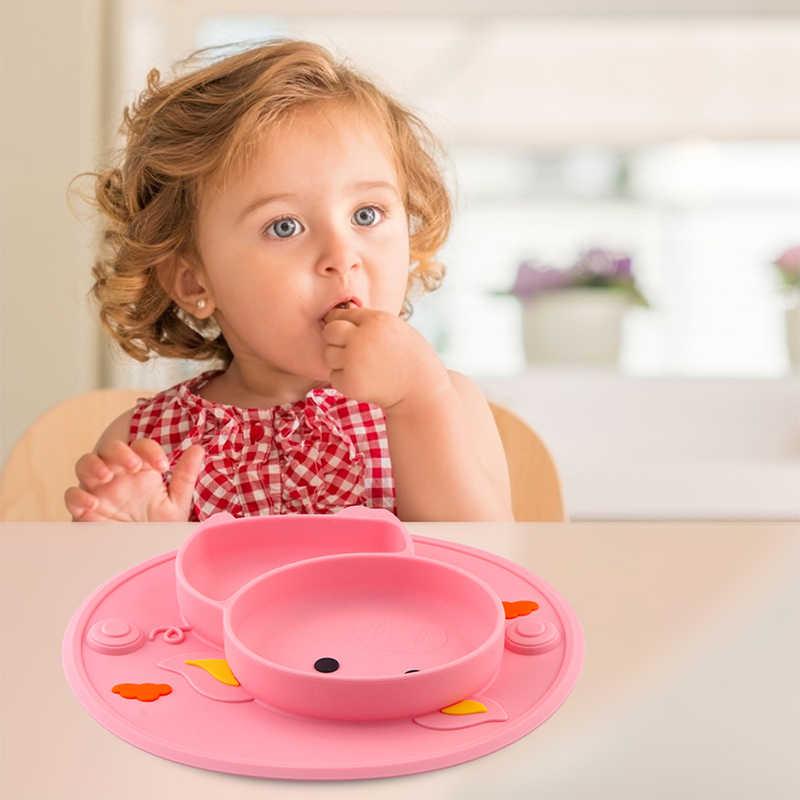 Qshare เด็กการเรียนรู้ชามน่ารักหมูดูดซิลิโคนแผ่น Placemat เด็กให้อาหารอาหารเย็นเด็กอาหารจาน Pratos
