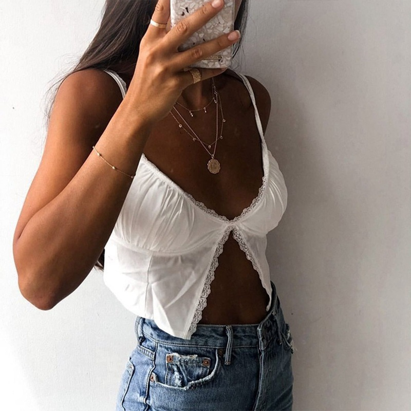 2020 Fashion Summer InstaHot Single Button Ruched Camis Sexy Splice White Camisole Ladies Casual Cropped Top Lace Women Camis