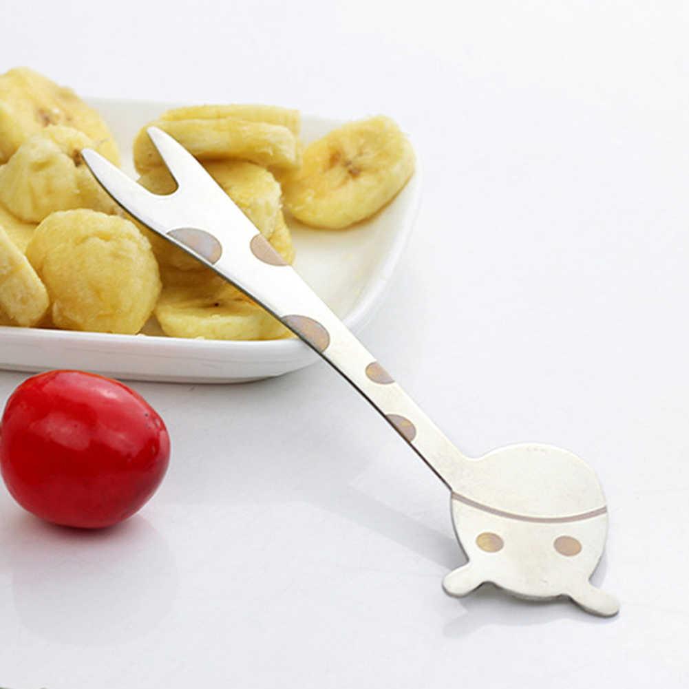 新 1Pc キリンデザインステンレス鋼ケーキデザートスナックフルーツサラダフォーク子供食器の形動物ピックサラダ砂漠フォーク