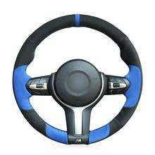 For BMW F87 M2 F80 M3 Hand-stitched Blue Black Suede Car Steering Wheel Cover