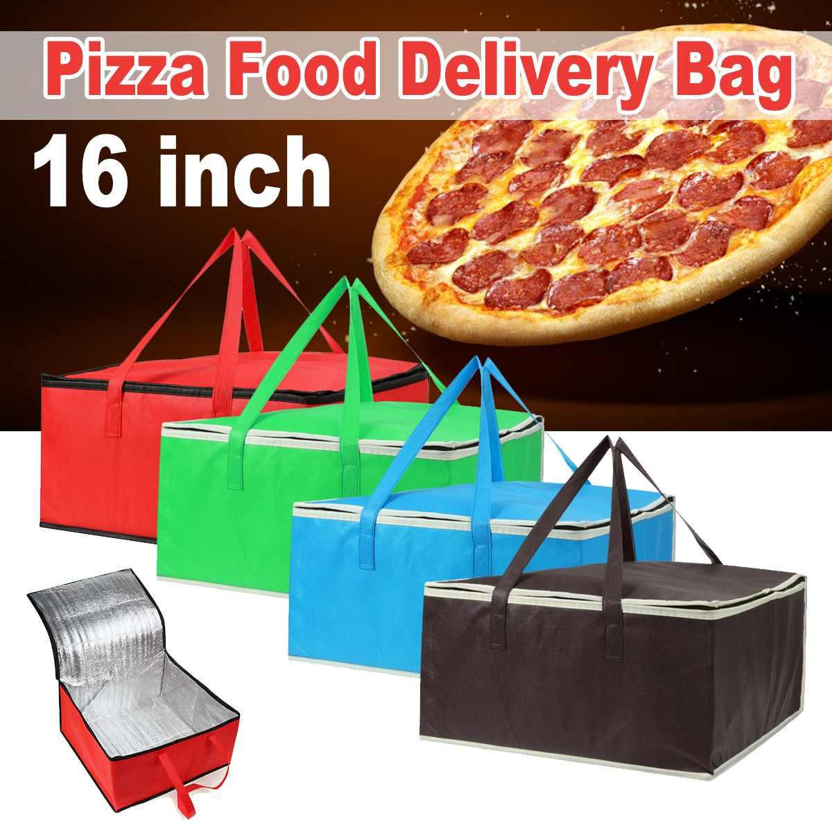 """16"""" Insulated Bag Cooler Bag Insulation Folding Picnic Portable Ice Pack Food Thermal Bag Food Delivery Bag Pizza Bag"""