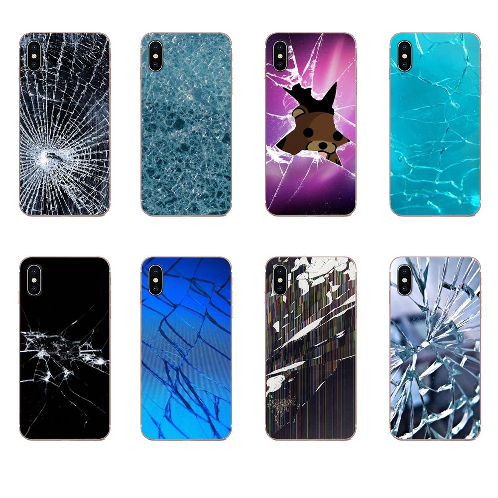 Broken Screen Pattern Soft Cover Cell Phone Cases For Galaxy Grand A3 A5 A7 A8 A9 A9S On5 On7 Plus Pro Star 2015 2016 2017 2018 image