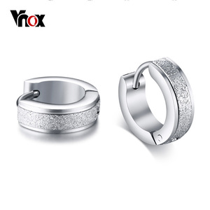 Vnox Cool Punk Small Hoop Earrings for Women Circle Earings Sandblasting Matt Stainless Steel Casual Female Brincos Jewelry