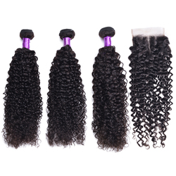 Kinky Curly Bundles With Closure Human Hair Bundles With Closure Non-Remy Brazilian Hair Weave Bundles