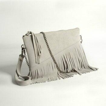 Genuine Leather Women Bag Fashional tassel bag  Soft Messenger bag slant span one shoulder bag Hot sale small bag