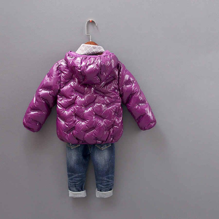 Jaqueta de pato branco com capuz, para meninas de 18m a 8 anos, moda externa, sólida, ultra leve casaco de bolha para meninos