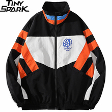 Patchwork Jacket Coat Color-Block Windbreaker Men Harajuku Hiphop Retro Streetwear Loose