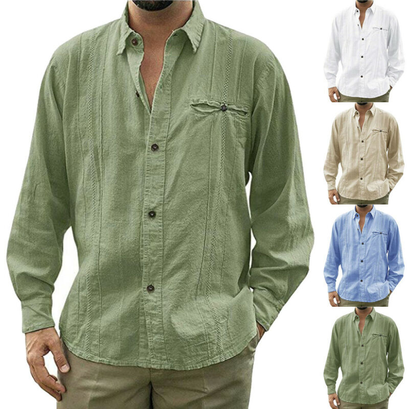 Fashion Men's Casual Solid Long Sleeve Button Front Casual Loose Shirts Linen Single Breasted Male