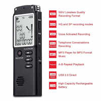 8 Gb/16 Gb/32 Gb Registratore Vocale Usb Professionale 96 Ore Dittafono Digital Audio Voice Recorder con wav, MP3 Lettore