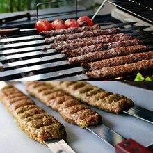 Aço inoxidável amplo churrasco espetos de madeira longa lidar com churrasco garfo vara shish kebab grill espeto acampamento ferramenta pânico estilo brasileiro