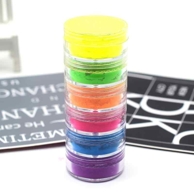 6 Warna/Set Mix Neon Pigmen Eye Shadow Makeup Palet Glitter Shimmer Eyeshadow Powder Tubuh Kuku Kosmetik alat