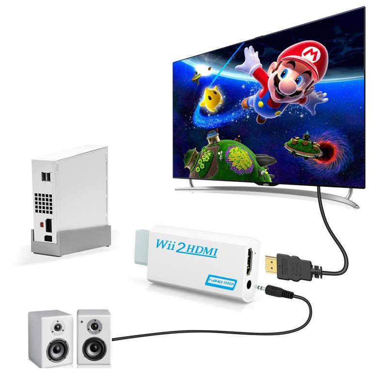 Für Wii Zu HDMI Konverter Adapter FullHD 1080P Wii Zu HDMI Wii2HDMI Konverter 3,5mm Audio Für PC HDTV monitor Display Tragbare