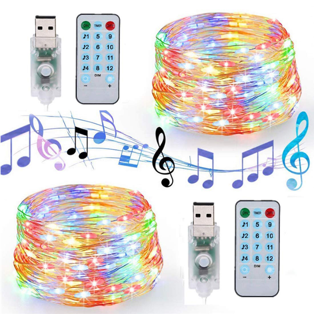 USB Sound Activated LED Music String Light Remote Control 5M 10M Copper Wire Fariy Garland Light For Wedding Christmas Holiday