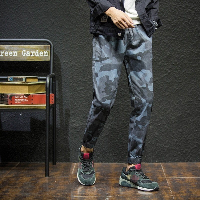 Fashion Mens Loose Fit Hip Hop Harem Pants Elasic Waist Camouflage Printed Long Trousers Casual Ankle Length Joggers Sweatpants