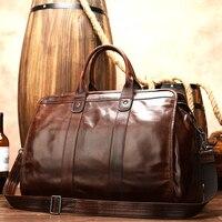 MAHEU Glatte Leder Reisetasche Männer Frauen Unisex Vintage Reisen taschen hand gepäck braun rindsleder reise totes hohe kapazität