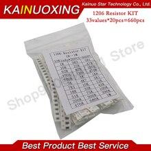 1206 SMD Resistor Kit Assorted Kit 1ohm-1M ohm 1% 33valuesX 20pcs=660pcs Sample Kit