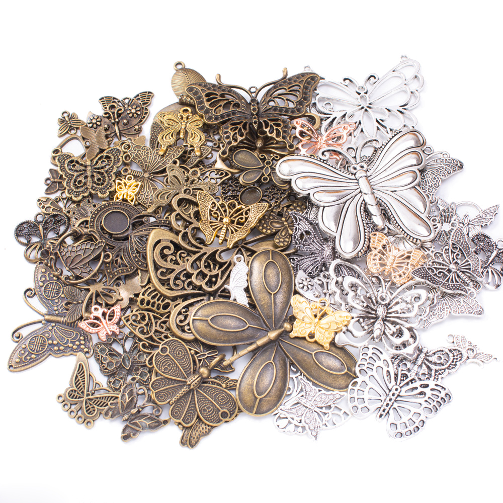 50g 100g Butterfly Mixed Charms Pendants Vintage Antique Bronze Silver Bracelets Necklace Craft Metal For DIY Jewelry Making