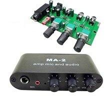AMPLIFICADOR DE AURICULARES MA-2, amplificador de micrófono dinámico de 6,5mm, condensador de 3,5mm, preamplificador de Audio y música, placa mezcladora