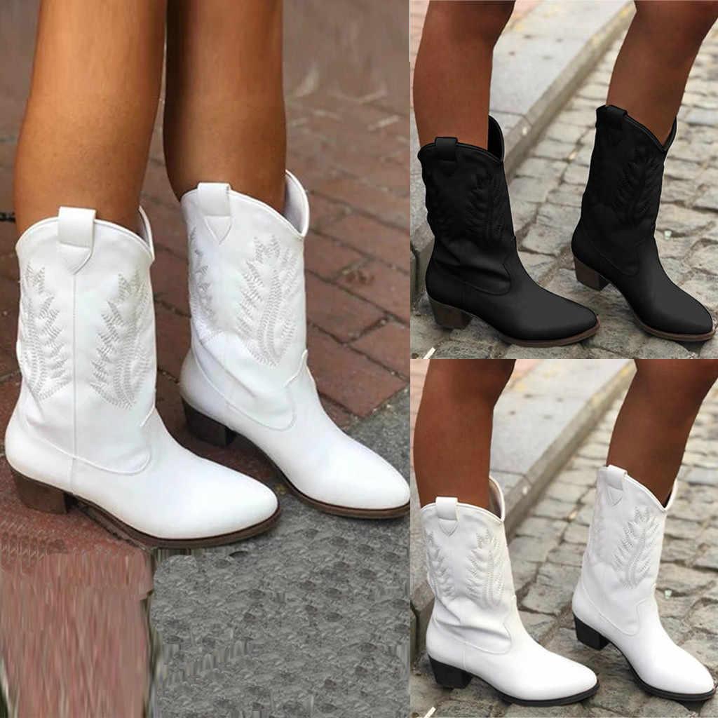 Beyaz kış çizmeler moda kadın orta buzağı Flats yuvarlak ayak düşük topuklu rahat ayakkabılar köpek topuk batı kovboy şövalye çizmeler