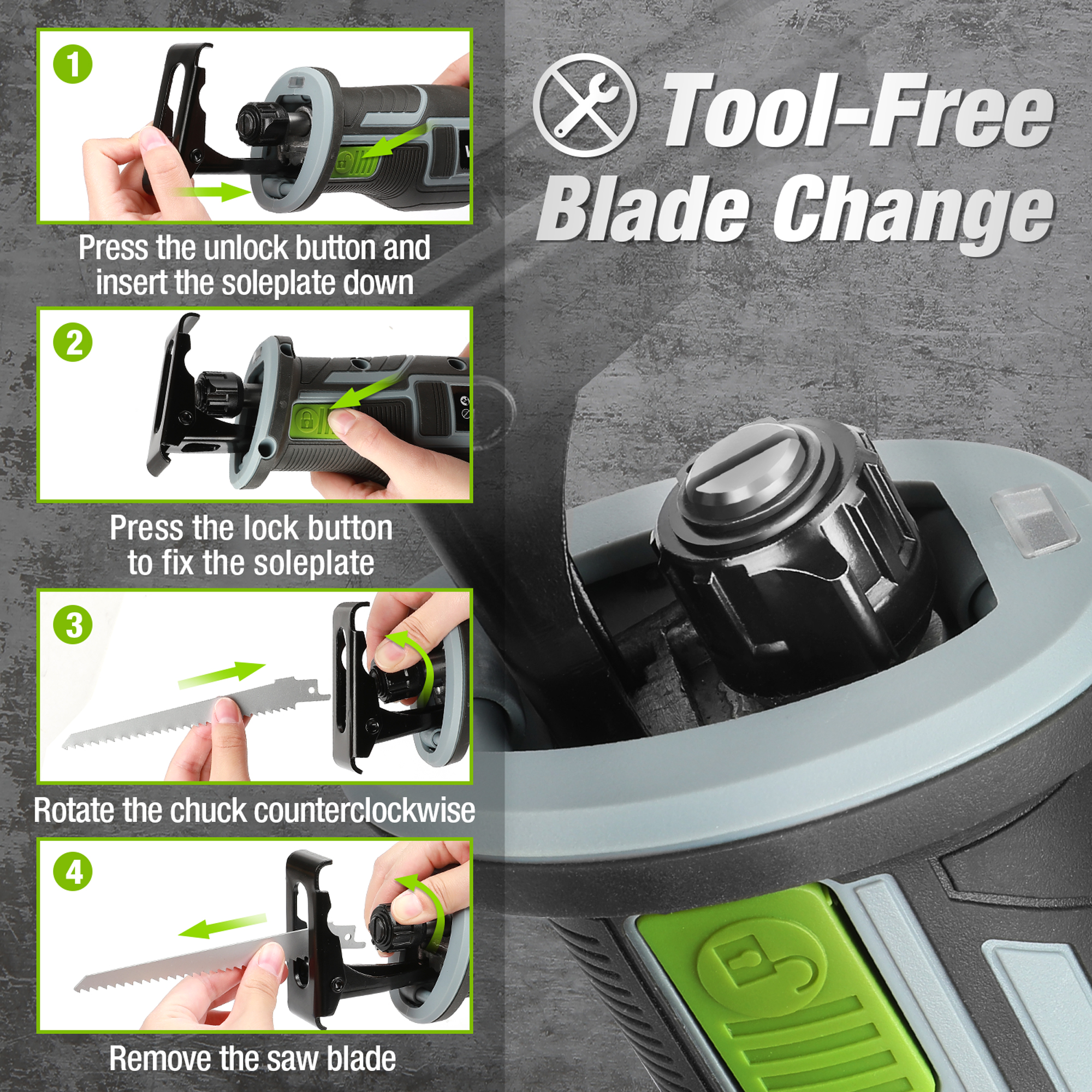 How to insert Blade in WORKPRO 20V Cordless Reciprocating Saw