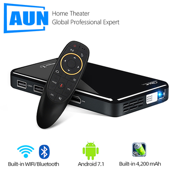 AUN MINI Projector X2, Android 7.1 (Optional 2G+16G Voice Control), Portable Proyector for 1080P Home Cinema, 3D Video Beamer vivicine smart pico projector p09 android 6 0 bluetooth built in 4000mah battery smart miracast airplay mobile proyector beamer