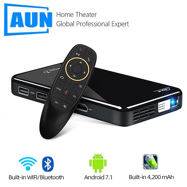AUN MINI projektor X2, Android 7.1 (opcjonalnie sterowanie głosem 2G + 16G), przenośny Proyector do kina domowego 1080P, wideo 3D Beamer
