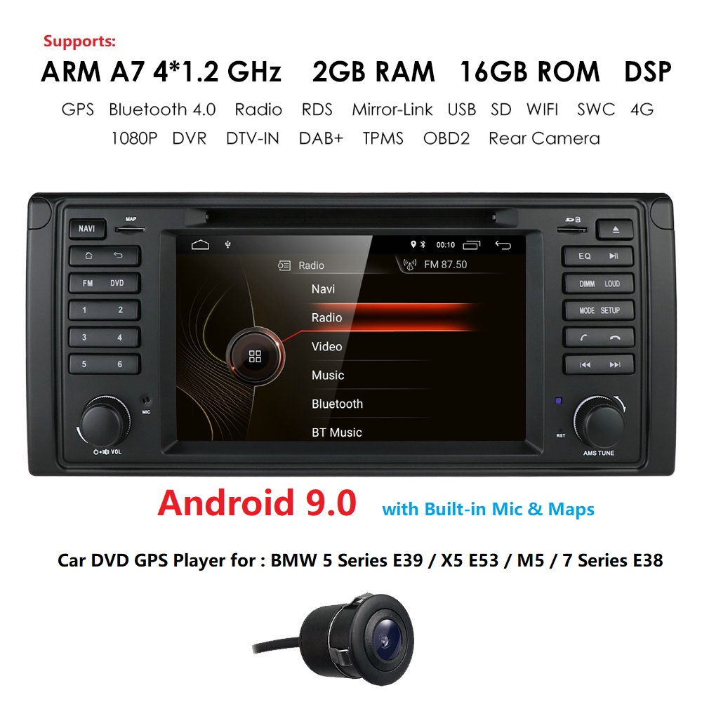 1 Din Android 9 Auto Radio For BMW/E39 <font><b>X5</b></font> <font><b>E53</b></font> M5 E38 Quad Core RAM 2GB ROM 16GB GPS Car Multimedia Stereo System DSP DVD USB DVR image