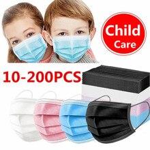10-200 crianças da criança dos pces máscara descartável máscaras faciais filtro de 3 camadas anti poeira gripe tecido derretimento soprado máscaras respiráveis protetoras