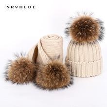 Осенне-зимние женские вязаные хлопковые шапки, теплые шапки из меха енота с помпоном, Детская вязаная Лыжная шапка, шарф, родитель-Детские шапочки, шапочка