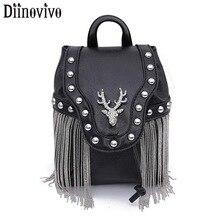 DIINOVIVO Gothic Rock Leather Women Handbag Shoulder Bag Tas